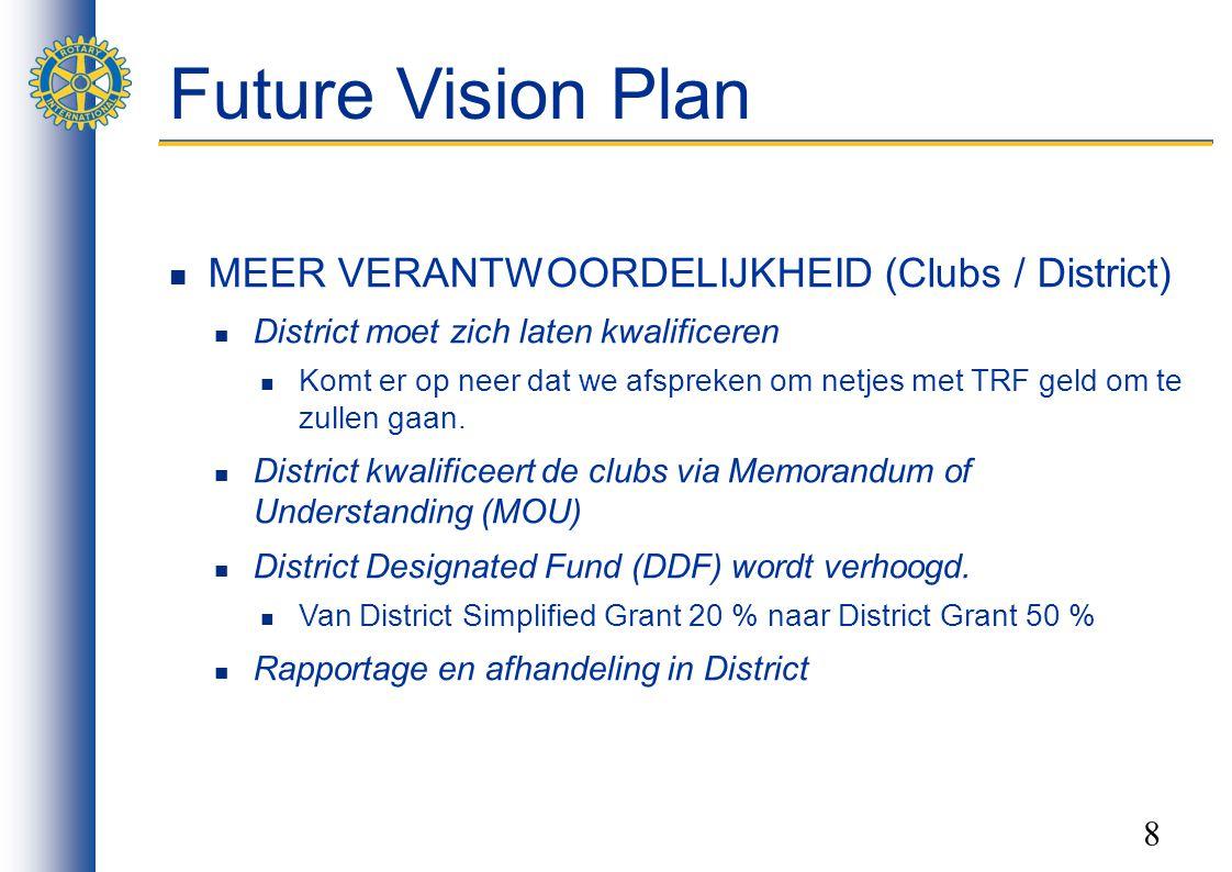 8 Future Vision Plan MEER VERANTWOORDELIJKHEID (Clubs / District) District moet zich laten kwalificeren Komt er op neer dat we afspreken om netjes met TRF geld om te zullen gaan.