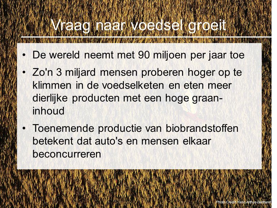 Vraag naar voedsel groeit De wereld neemt met 90 miljoen per jaar toe Zo'n 3 miljard mensen proberen hoger op te klimmen in de voedselketen en eten me