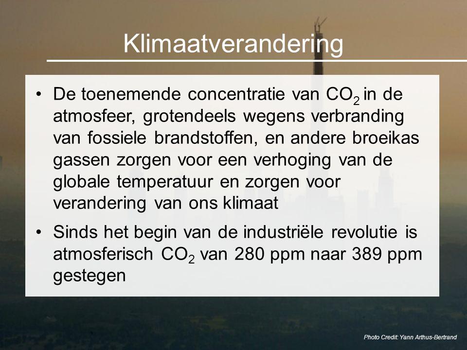 Klimaatverandering De toenemende concentratie van CO 2 in de atmosfeer, grotendeels wegens verbranding van fossiele brandstoffen, en andere broeikas g