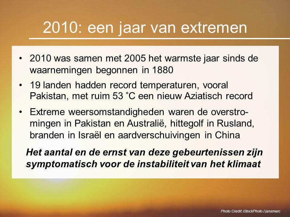 2010: een jaar van extremen 2010 was samen met 2005 het warmste jaar sinds de waarnemingen begonnen in 1880 19 landen hadden record temperaturen, voor