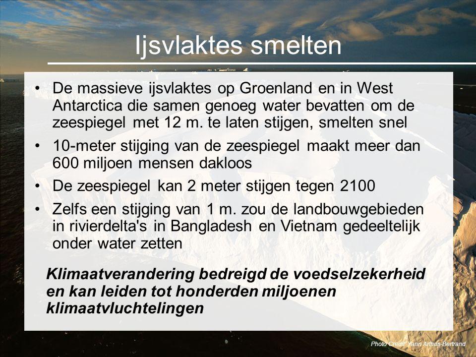 Ijsvlaktes smelten De massieve ijsvlaktes op Groenland en in West Antarctica die samen genoeg water bevatten om de zeespiegel met 12 m. te laten stijg