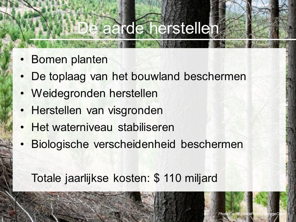 De aarde herstellen Bomen planten De toplaag van het bouwland beschermen Weidegronden herstellen Herstellen van visgronden Het waterniveau stabilisere