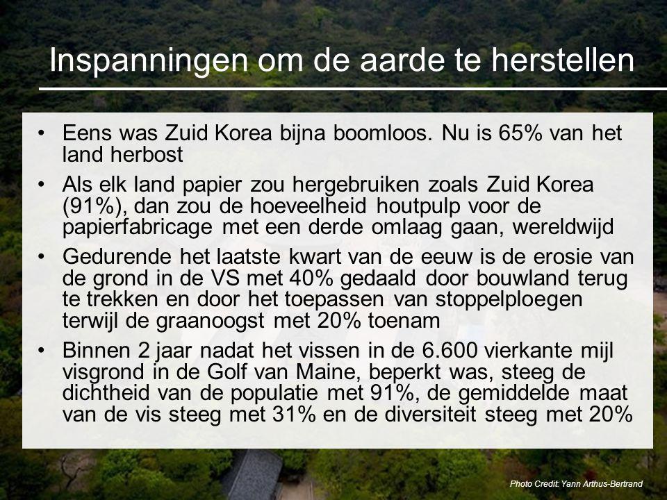 Inspanningen om de aarde te herstellen Eens was Zuid Korea bijna boomloos. Nu is 65% van het land herbost Als elk land papier zou hergebruiken zoals Z