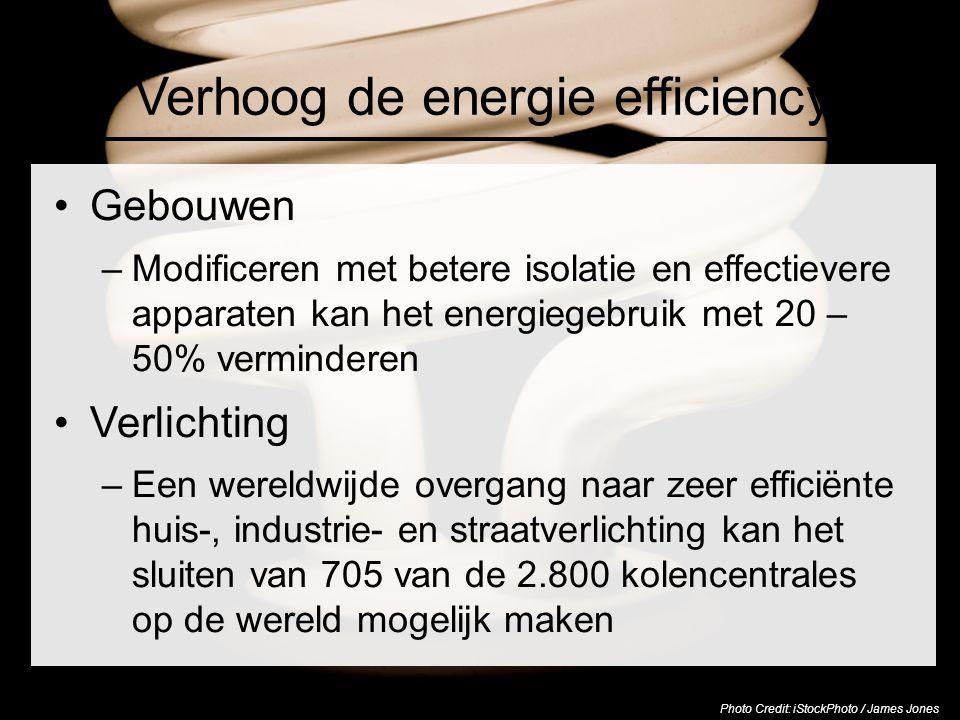 Verhoog de energie efficiency Gebouwen –Modificeren met betere isolatie en effectievere apparaten kan het energiegebruik met 20 – 50% verminderen Verl