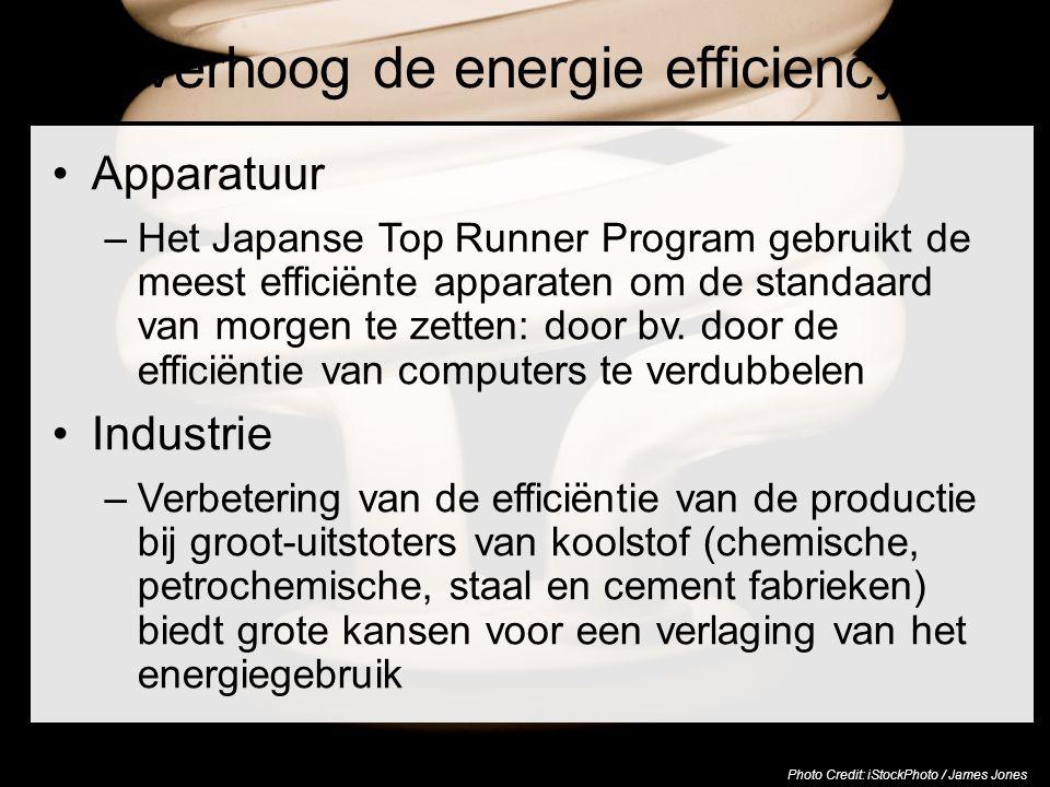 Verhoog de energie efficiency Apparatuur –Het Japanse Top Runner Program gebruikt de meest efficiënte apparaten om de standaard van morgen te zetten: