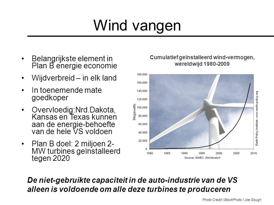 Cumulatief geïnstalleerd wind-vermogen, wereldwijd 1980-2009 Wind vangen Belangrijkste element in Plan B energie economie Wijdverbreid – in elk land I