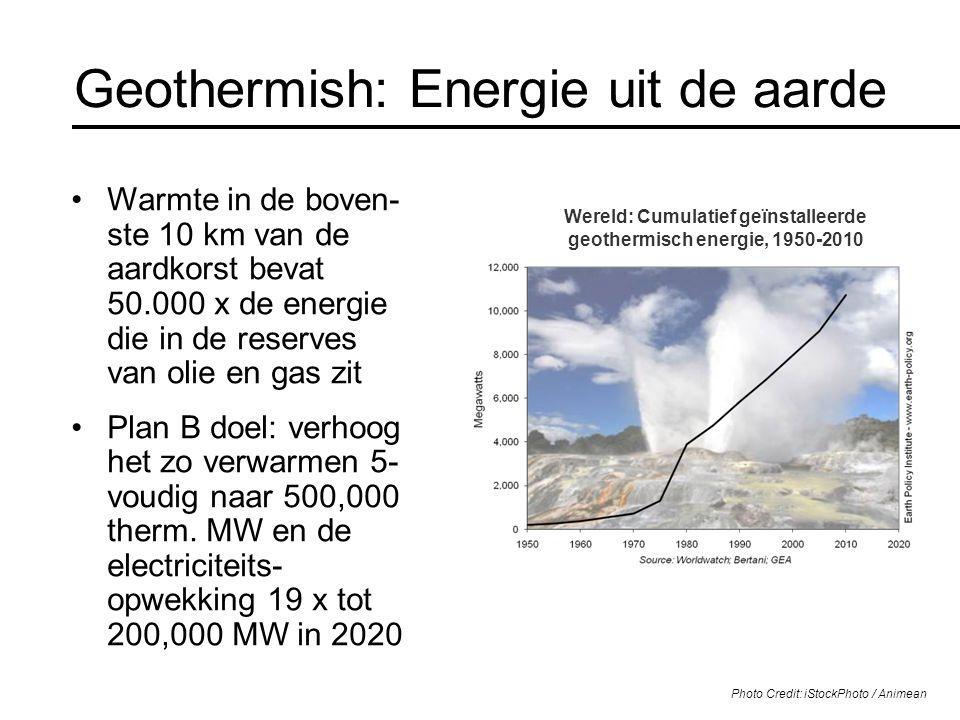 Geothermish: Energie uit de aarde Warmte in de boven- ste 10 km van de aardkorst bevat 50.000 x de energie die in de reserves van olie en gas zit Plan