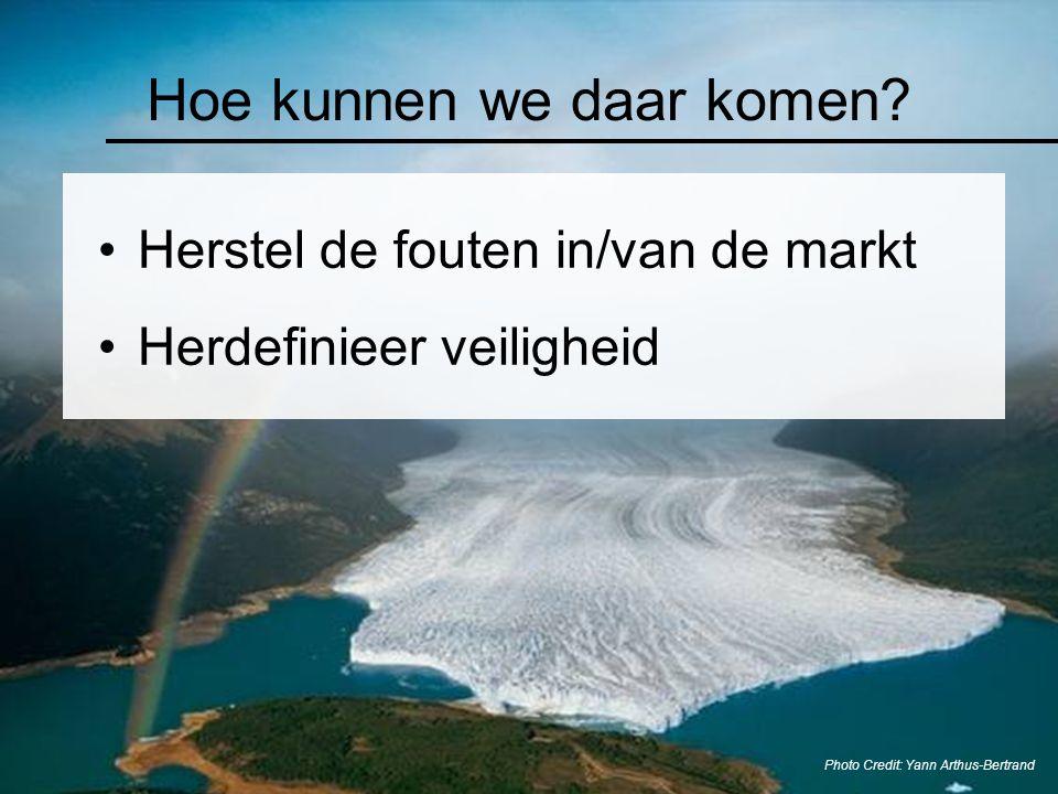 Hoe kunnen we daar komen? Photo Credit: Yann Arthus-Bertrand Herstel de fouten in/van de markt Herdefinieer veiligheid