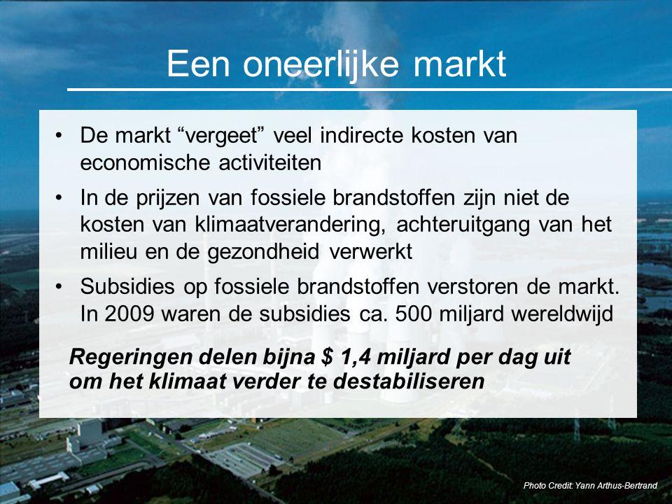 """Een oneerlijke markt De markt """"vergeet"""" veel indirecte kosten van economische activiteiten In de prijzen van fossiele brandstoffen zijn niet de kosten"""