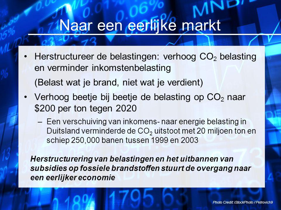 Naar een eerlijke markt Herstructureer de belastingen: verhoog CO 2 belasting en verminder inkomstenbelasting (Belast wat je brand, niet wat je verdie