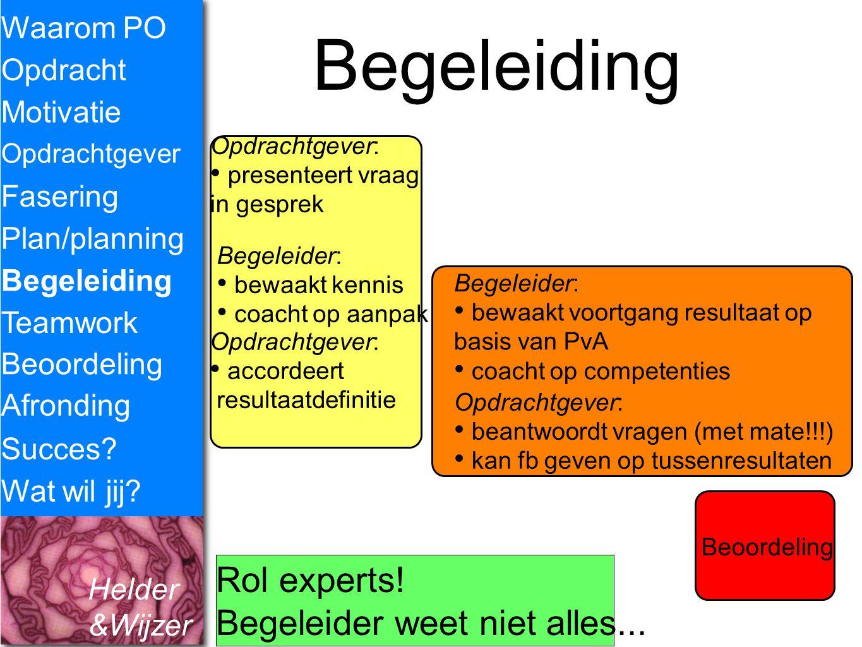 Helder &Wijzer Begeleiding Waarom PO Opdracht Fasering Opdrachtgever Plan/planning Begeleiding Teamwork Motivatie Succes? Wat wil jij? Opdrachtgever: