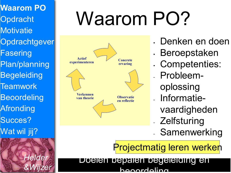 Helder &Wijzer Waarom PO? Waarom PO Opdracht Fasering Opdrachtgever Plan/planning Begeleiding Teamwork Motivatie Succes? Wat wil jij? Denken en doen B