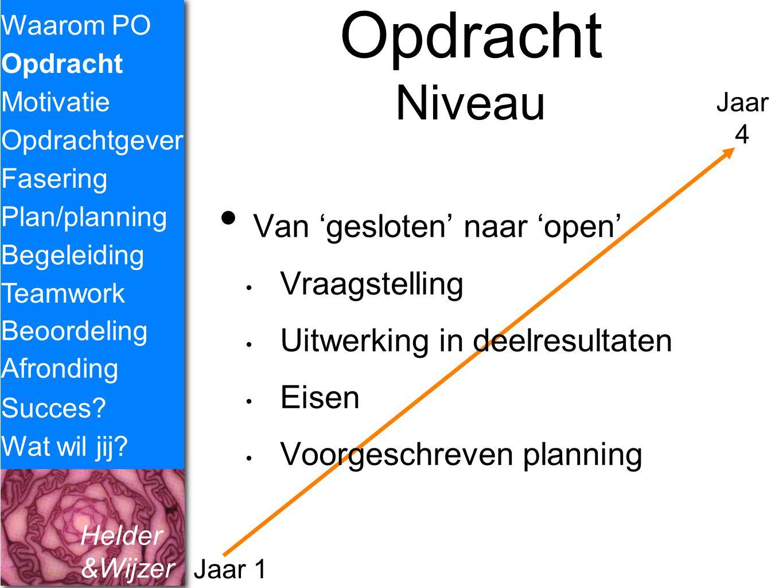 Helder &Wijzer Opdracht Niveau Van 'gesloten' naar 'open' Vraagstelling Uitwerking in deelresultaten Eisen Voorgeschreven planning Waarom PO Opdracht