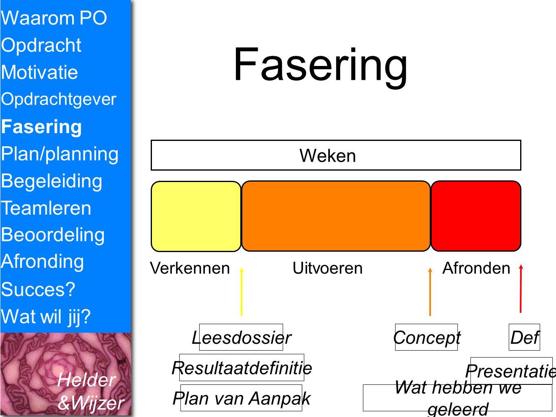 Helder &Wijzer Fasering Waarom PO Opdracht Fasering Opdrachtgever Plan/planning Begeleiding Teamleren Motivatie Succes? Wat wil jij? Weken VerkennenUi