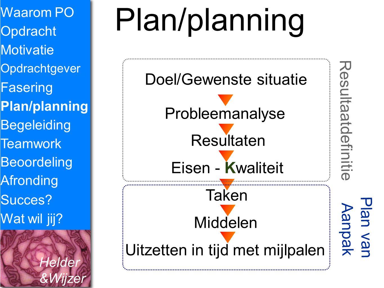 Helder &Wijzer Plan/planning Waarom PO Opdracht Fasering Opdrachtgever Plan/planning Begeleiding Teamwork Motivatie Succes? Wat wil jij? Probleemanaly