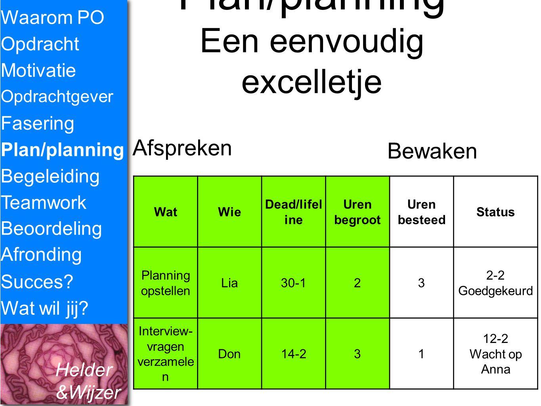 Helder &Wijzer Waarom PO Opdracht Fasering Opdrachtgever Plan/planning Begeleiding Teamwork Motivatie Succes? Wat wil jij? Plan/planning Een eenvoudig