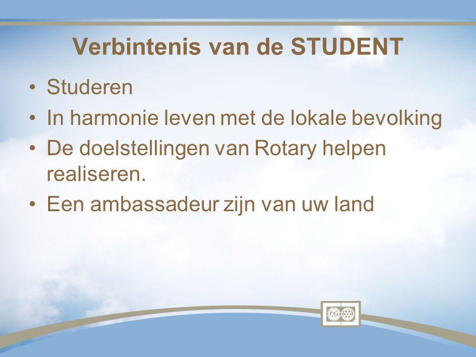 Verbintenis van de STUDENT Studeren In harmonie leven met de lokale bevolking De doelstellingen van Rotary helpen realiseren. Een ambassadeur zijn van