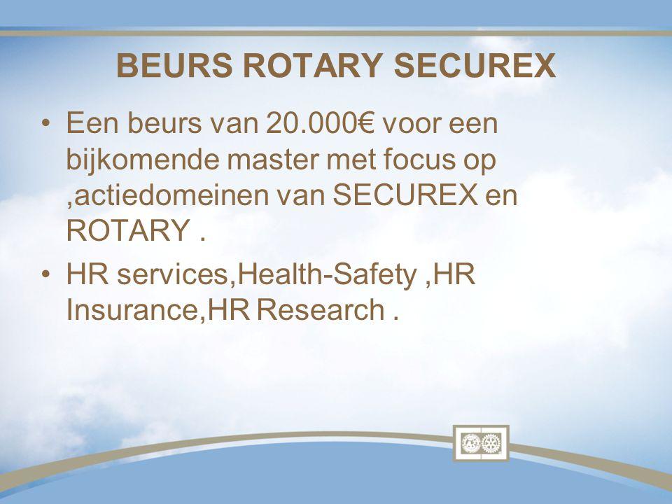 BEURS ROTARY SECUREX Een beurs van 20.000€ voor een bijkomende master met focus op,actiedomeinen van SECUREX en ROTARY. HR services,Health-Safety,HR I
