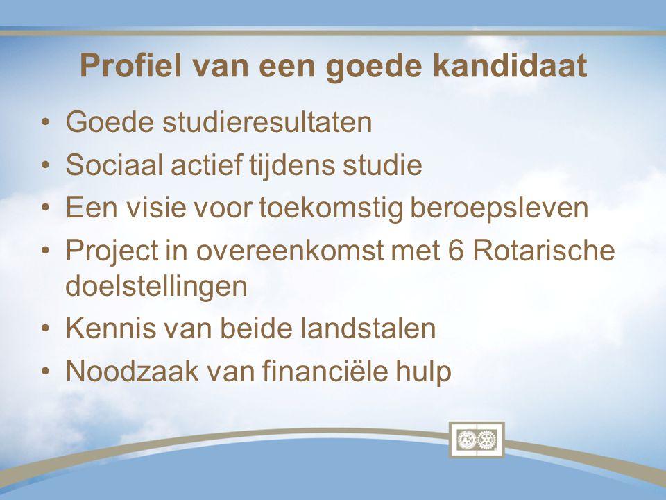 Profiel van een goede kandidaat Goede studieresultaten Sociaal actief tijdens studie Een visie voor toekomstig beroepsleven Project in overeenkomst me