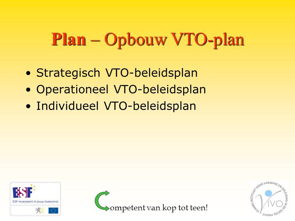 Plan – Opbouw VTO-plan Strategisch VTO-beleidsplan Operationeel VTO-beleidsplan Individueel VTO-beleidsplan ompetent van kop tot teen!