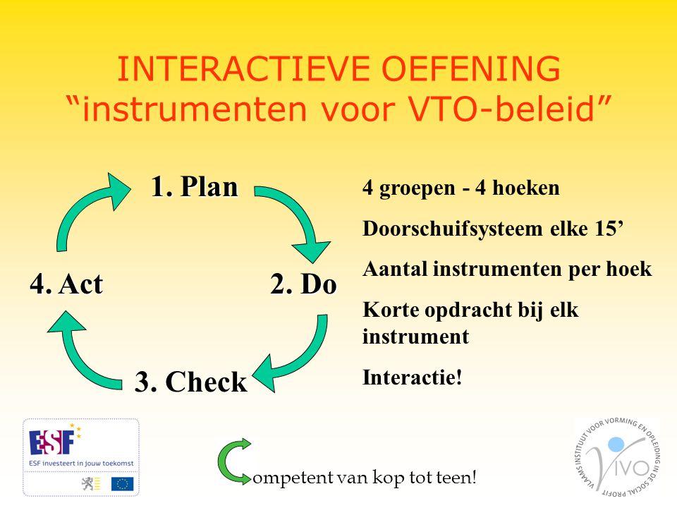 INTERACTIEVE OEFENING instrumenten voor VTO-beleid ompetent van kop tot teen.
