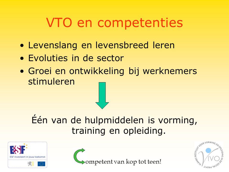 VTO en competenties Levenslang en levensbreed leren Evoluties in de sector Groei en ontwikkeling bij werknemers stimuleren Één van de hulpmiddelen is vorming, training en opleiding.