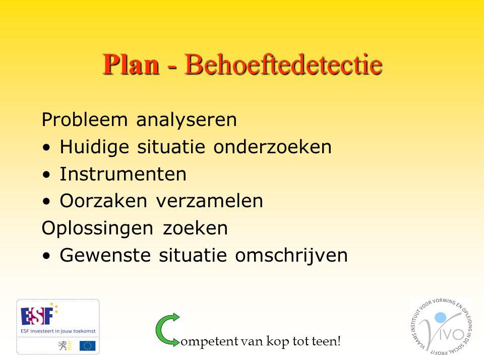 Plan - Behoeftedetectie Probleem analyseren Huidige situatie onderzoeken Instrumenten Oorzaken verzamelen Oplossingen zoeken Gewenste situatie omschrijven ompetent van kop tot teen!