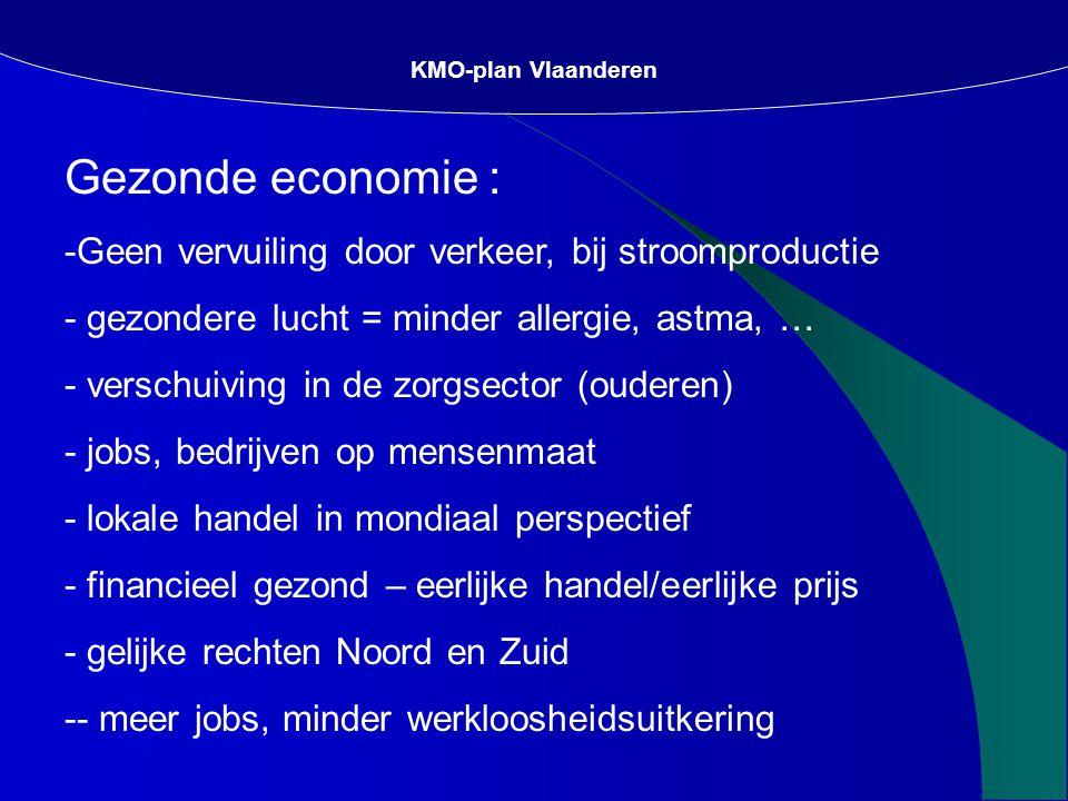 Gezonde economie : -Geen vervuiling door verkeer, bij stroomproductie - gezondere lucht = minder allergie, astma, … - verschuiving in de zorgsector (ouderen) - jobs, bedrijven op mensenmaat - lokale handel in mondiaal perspectief - financieel gezond – eerlijke handel/eerlijke prijs - gelijke rechten Noord en Zuid -- meer jobs, minder werkloosheidsuitkering KMO-plan Vlaanderen