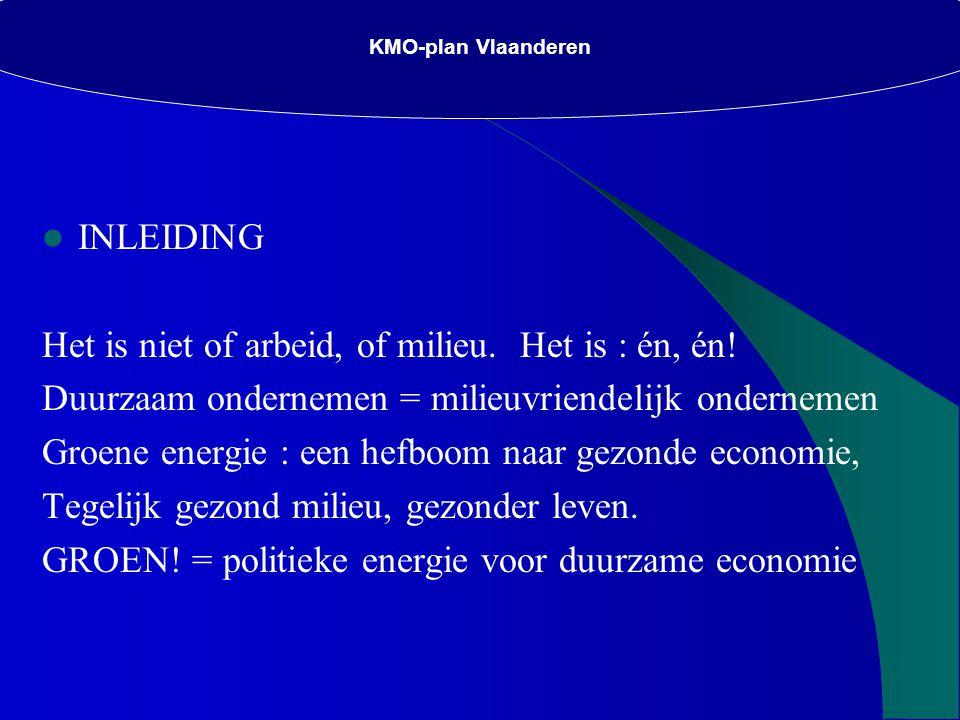 KMO-plan Vlaanderen INLEIDING Het is niet of arbeid, of milieu.
