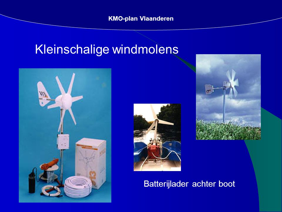 Kleinschalige windmolens KMO-plan Vlaanderen Batterijlader achter boot