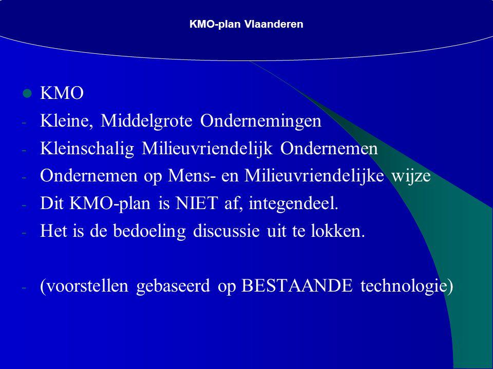 KMO-plan Vlaanderen KMO - Kleine, Middelgrote Ondernemingen - Kleinschalig Milieuvriendelijk Ondernemen - Ondernemen op Mens- en Milieuvriendelijke wijze - Dit KMO-plan is NIET af, integendeel.