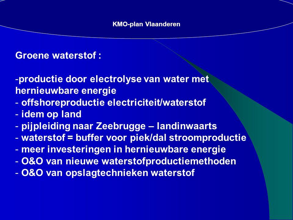 Groene waterstof : -productie door electrolyse van water met hernieuwbare energie - offshoreproductie electriciteit/waterstof - idem op land - pijpleiding naar Zeebrugge – landinwaarts - waterstof = buffer voor piek/dal stroomproductie - meer investeringen in hernieuwbare energie - O&O van nieuwe waterstofproductiemethoden - O&O van opslagtechnieken waterstof KMO-plan Vlaanderen