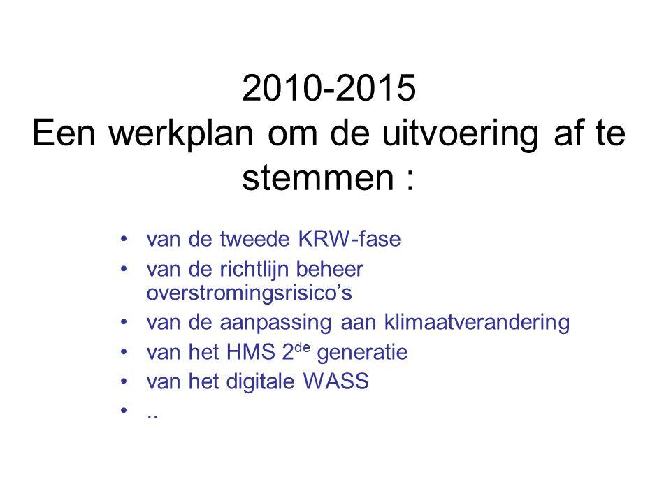 2010-2015 Een werkplan om de uitvoering af te stemmen : van de tweede KRW-fase van de richtlijn beheer overstromingsrisico's van de aanpassing aan klimaatverandering van het HMS 2 de generatie van het digitale WASS..