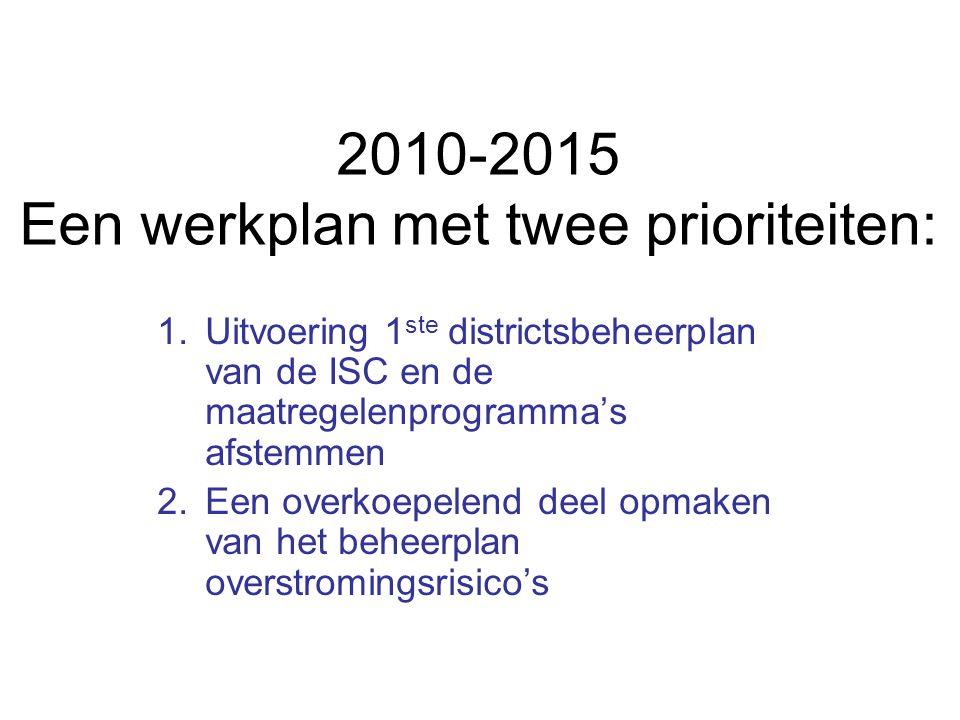 2010-2015 Een werkplan met twee prioriteiten: 1.Uitvoering 1 ste districtsbeheerplan van de ISC en de maatregelenprogramma's afstemmen 2.Een overkoepelend deel opmaken van het beheerplan overstromingsrisico's