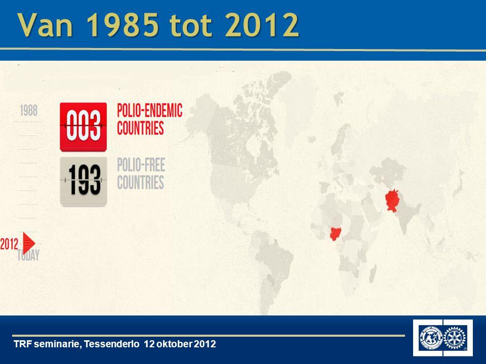 TRF seminarie, Tessenderlo 12 oktober 2012 Van 1985 tot 2012