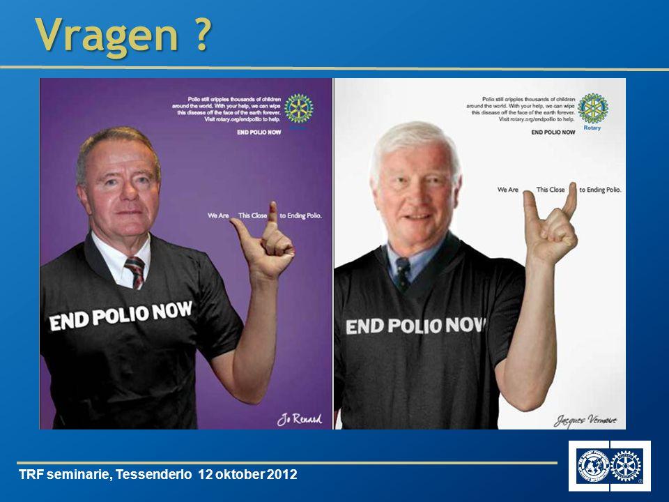 TRF seminarie, Tessenderlo 12 oktober 2012 Vragen