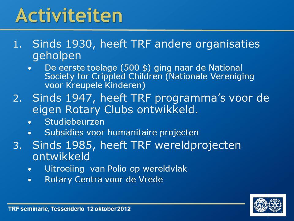 TRF seminarie, Tessenderlo 12 oktober 2012Activiteiten 1.