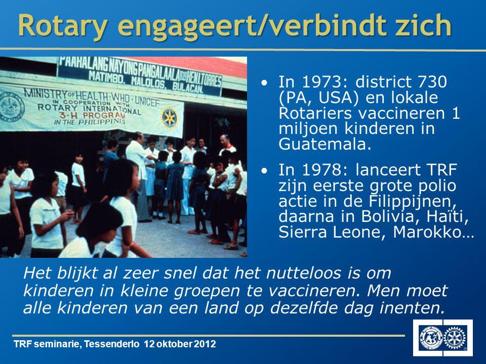 TRF seminarie, Tessenderlo 12 oktober 2012 Rotary engageert/verbindt zich In 1973: district 730 (PA, USA) en lokale Rotariers vaccineren 1 miljoen kinderen in Guatemala.