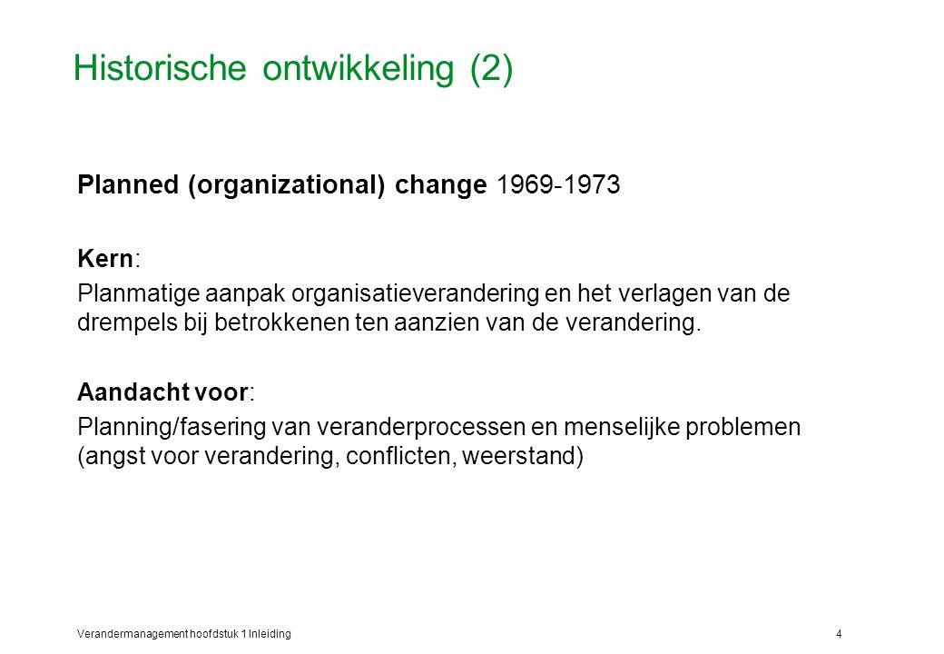 Verandermanagement hoofdstuk 1 Inleiding5 Historische ontwikkeling (3) Organization Development (OD) 1974-1985 Kern: Het veranderen van systeem-, structuurcondities en het begeleiden van individuele en groepsaanpassingsprocessen.