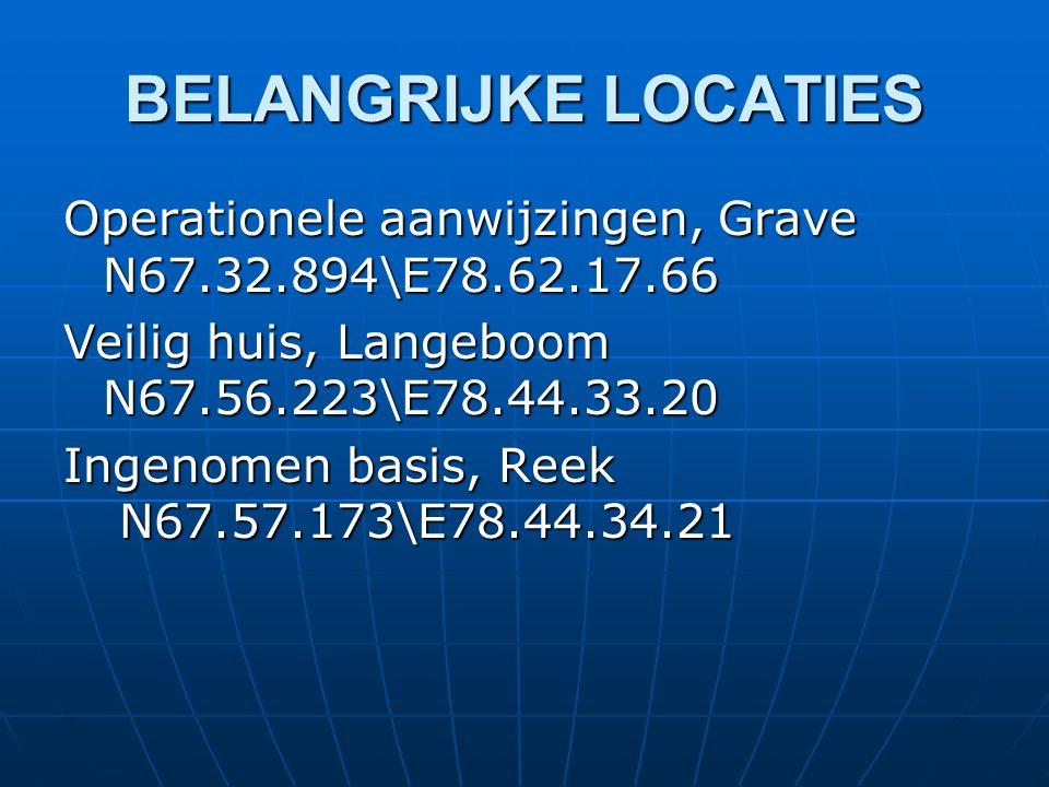 BELANGRIJKE LOCATIES Operationele aanwijzingen, Grave N67.32.894\E78.62.17.66 Veilig huis, Langeboom N67.56.223\E78.44.33.20 Ingenomen basis, Reek N67.57.173\E78.44.34.21