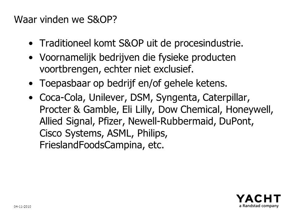 Waar vinden we S&OP? Traditioneel komt S&OP uit de procesindustrie. Voornamelijk bedrijven die fysieke producten voortbrengen, echter niet exclusief.
