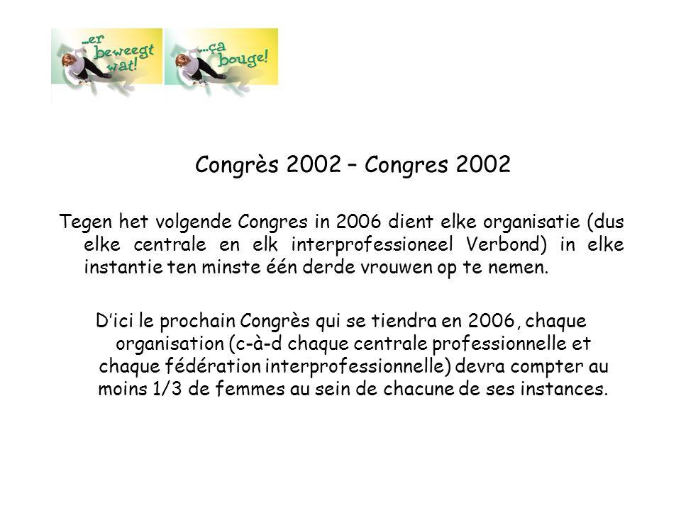 Congrès 2002 – Congres 2002 Tegen het volgende Congres in 2006 dient elke organisatie (dus elke centrale en elk interprofessioneel Verbond) in elke in
