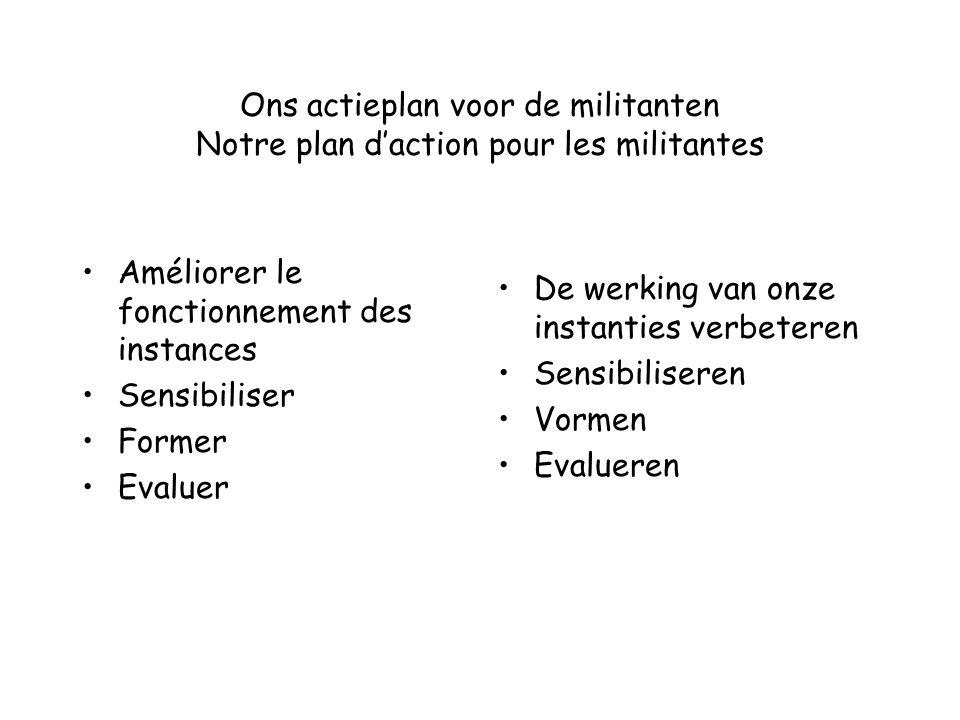 Ons actieplan voor de militanten Notre plan d'action pour les militantes Améliorer le fonctionnement des instances Sensibiliser Former Evaluer De werk