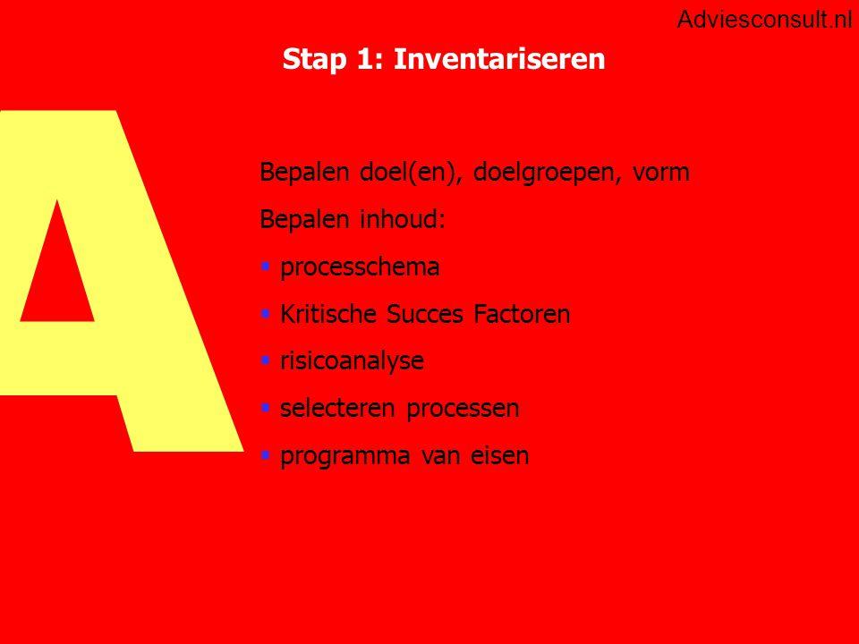 A Adviesconsult.nl Stap 1 inventariseren: procesketen Procesketen  overzicht van de primaire en ondersteunende processen Kenmerken proces  input / output  afdelingsoverschrijdend  relatie met klant (direct of indirect)