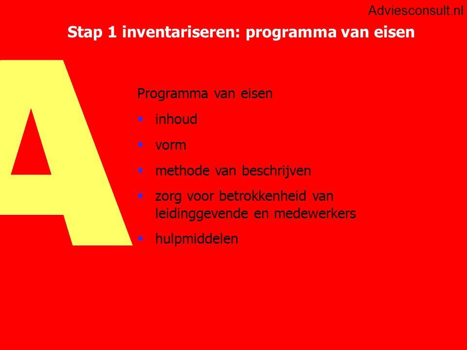 A Adviesconsult.nl Stap 2: Opstellen Plan van Aanpak  achtergronden  opdracht (met verwijzing naar programma van eisen)  activiteiten  grenzen  producten  kwaliteitsbewaking  projectorganisatie