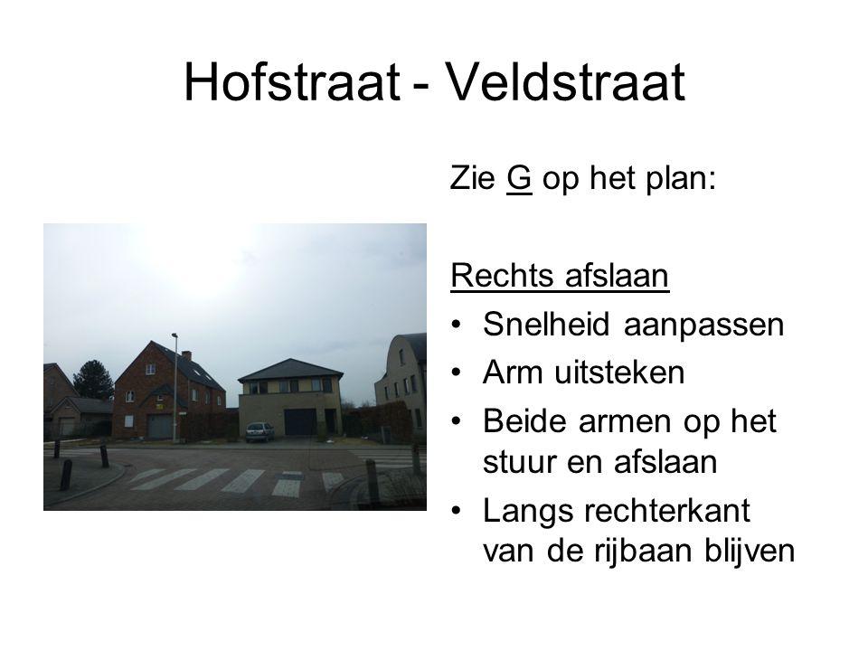 Hofstraat - Veldstraat Zie G op het plan: Rechts afslaan Snelheid aanpassen Arm uitsteken Beide armen op het stuur en afslaan Langs rechterkant van de rijbaan blijven