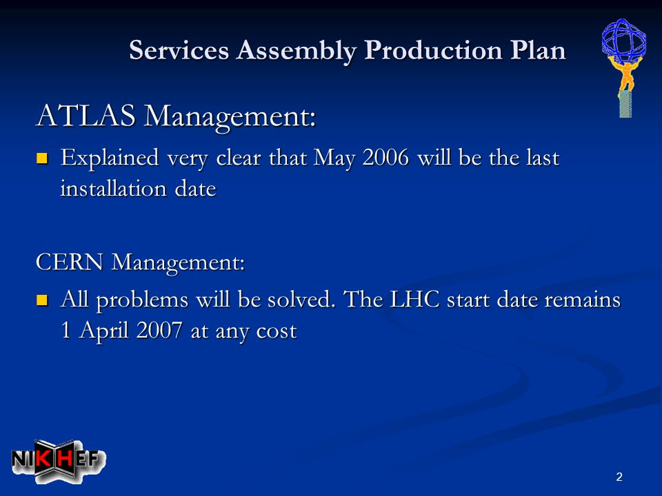 2 Services Assembly Production Plan ATLAS Management: Explained very clear that May 2006 will be the last installation date Explained very clear that May 2006 will be the last installation date CERN Management: All problems will be solved.