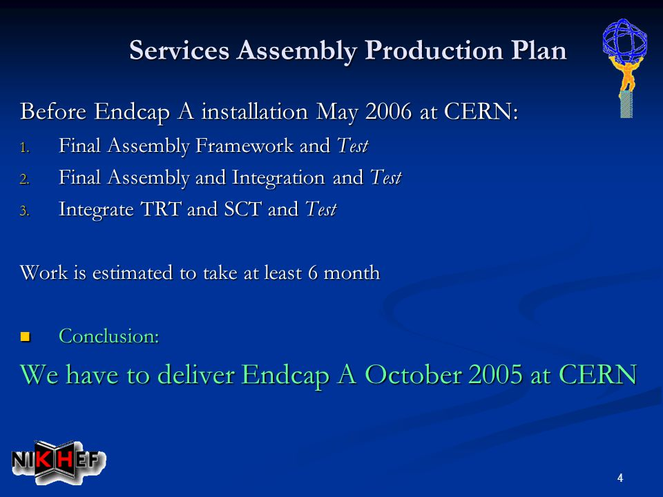 4 Before Endcap A installation May 2006 at CERN: 1. Final Assembly Framework and Test 2. Final Assembly and Integration and Test 3. Integrate TRT and