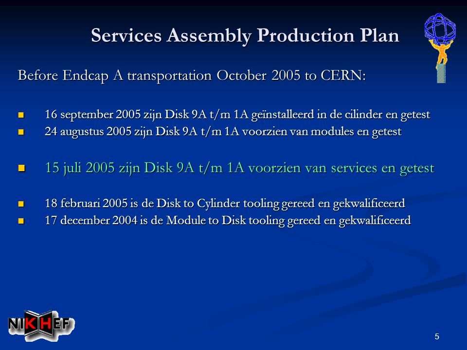 5 Services Assembly Production Plan Before Endcap A transportation October 2005 to CERN: 16 september 2005 zijn Disk 9A t/m 1A geïnstalleerd in de cil