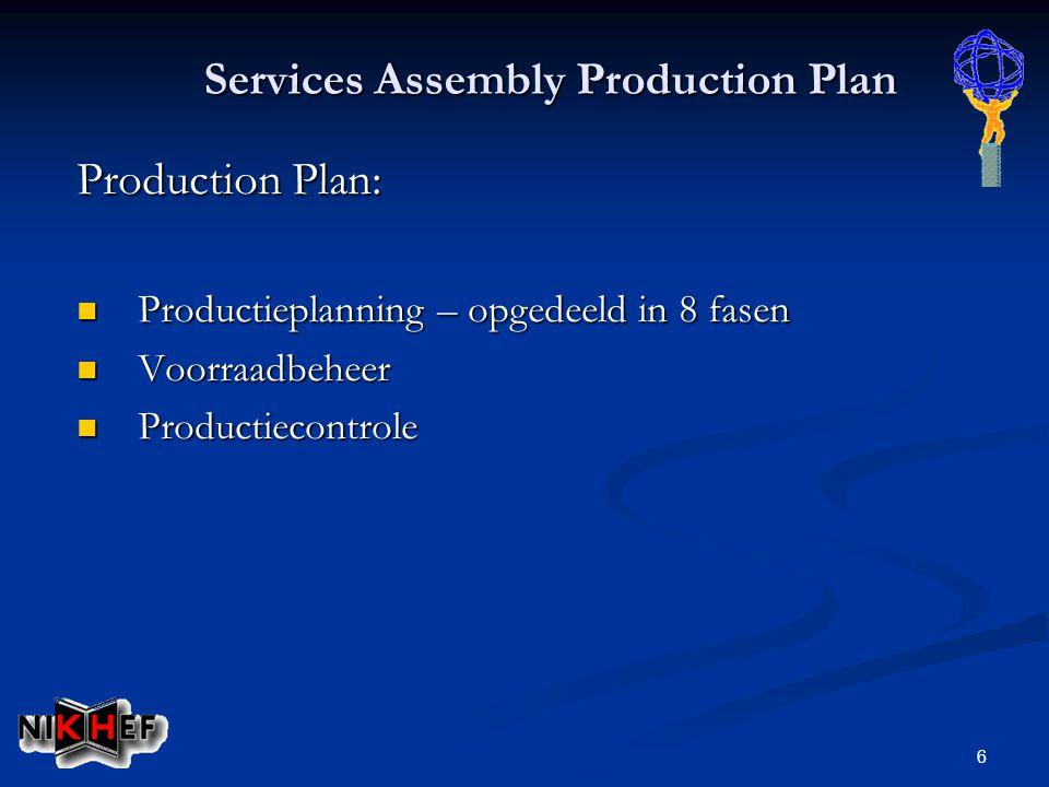 6 Services Assembly Production Plan Production Plan: Productieplanning – opgedeeld in 8 fasen Productieplanning – opgedeeld in 8 fasen Voorraadbeheer